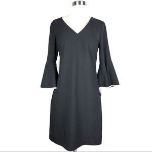 KARL LAGERFELD shift dress black 3/4 bell sleeves